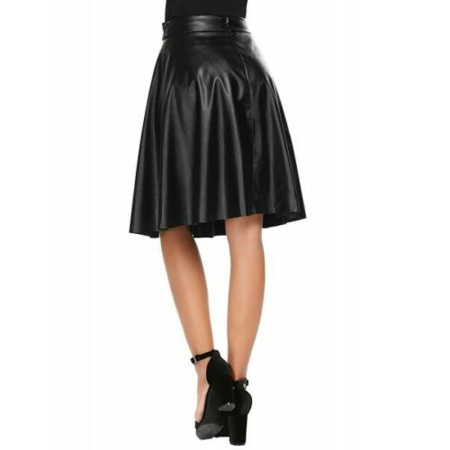 Women-039-s-Genuine-Leather-High-Waist-Skirt-Flared-Pleated-With-Belt