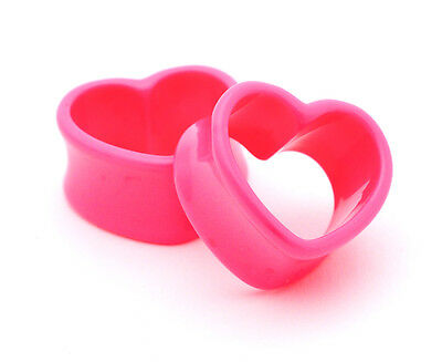 Pair of Pink Acrylic Heart Tunnels plugs set expanders gauges lot Choose Size