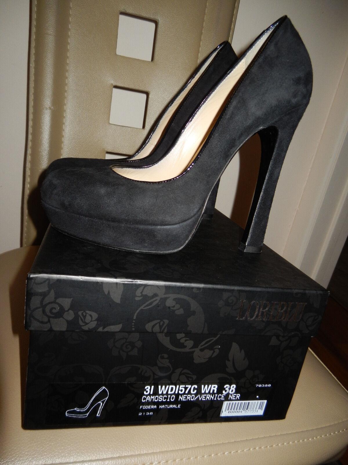 Nuevo en en en caja auténtica bomba loriazul Serraje diseñador italiano zapatos talla 8 Negro  tienda en linea