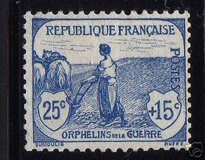 FRANCE-STAMP-TIMBRE-YVERT-151-034-ORPHELINS-GUERRE-FEMME-LABOUR-25c-15c-034-NEUF-x-TB