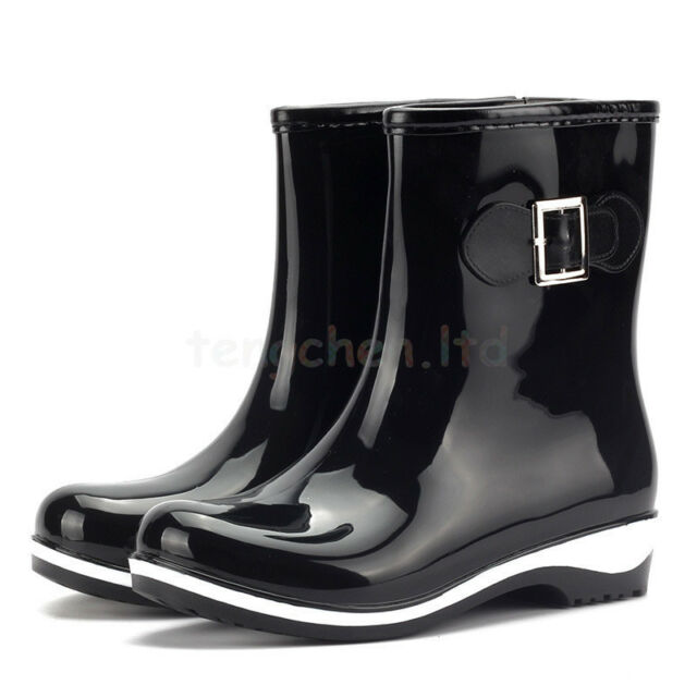 Women's Rain Snow Boots Mid Calf Waterproof Shoes Rubber Flats Warm Lining