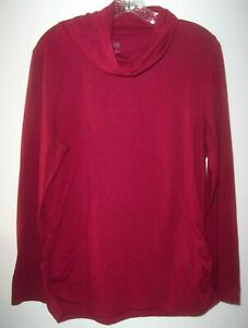 Duluth-Trading-Co-Magenta-Cowl-Neck-Tunic-Women-XL-Ruched-Gathered-Sides-LONG