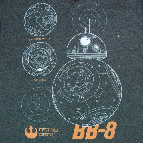 Mens Star Wars Episode VII The Force Awakens BB8 Droid T Shirt Charcoal NEW