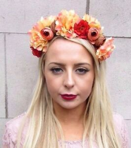 Image is loading Orange-Brown-Peach-Flower-Headband-Hair-Crown-Floral- 673cd09166c