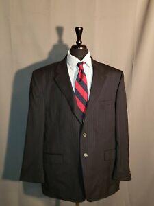 RALPH-LAUREN-Chaps-Men-039-s-NAVY-BLUE-Sport-Coat-PIN-STRIPE-Jacket-Wool-Blazer-48-R
