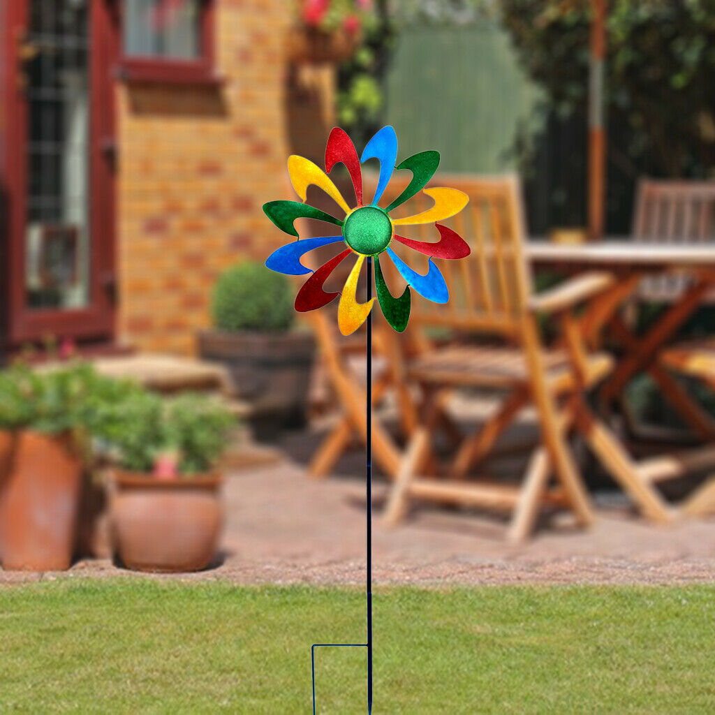 Metal Iron Colorful Rainbow Pinwheel Wind Spinner Garden Decoration for Kids