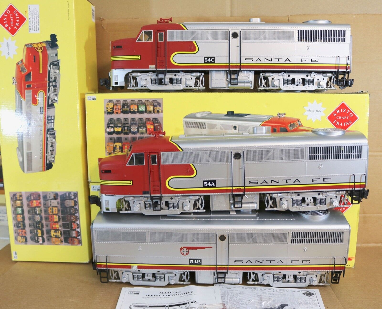 ARISTO-CRAFT 22310-3 G GAUGE SANTA FE AT&SF ALCO FA-1 2 & FB-1 DIESEL LOCO SET