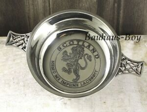 """QUAICH PEWTER SCOTTISH CELTIC KNOTWORK INNER 3.5/"""" WHISKY TOASTING CUP MADE IN UK"""