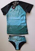Da Hui 7 Girls Blue Black 2 Pc Rash Guard Tankini Swimsuit Set Bikini Hawaii