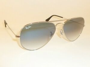 03501b8142 New RAY BAN Aviator Sunglasses Silver Frame RB 3025 003 3F Gradient ...