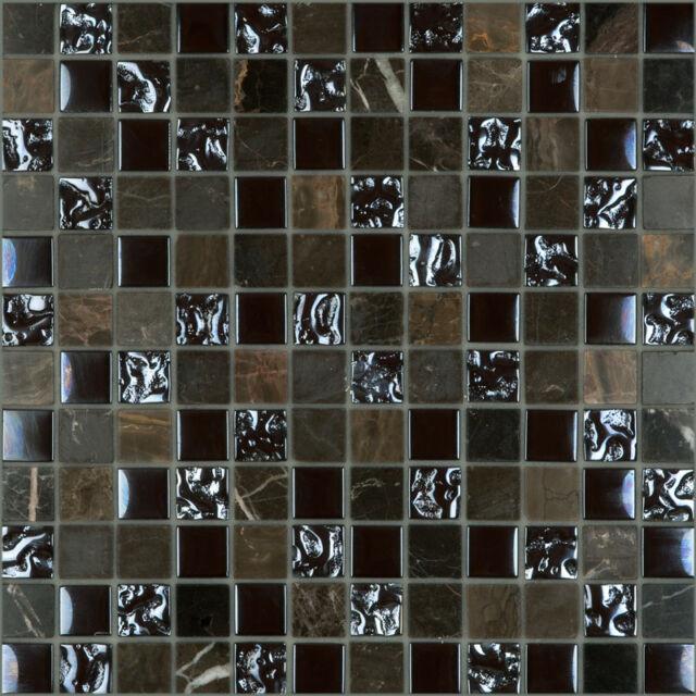 CMX Series Brown Marble & Bubble Glass Brown Mosaic Tile Sheet 305x305x8mm