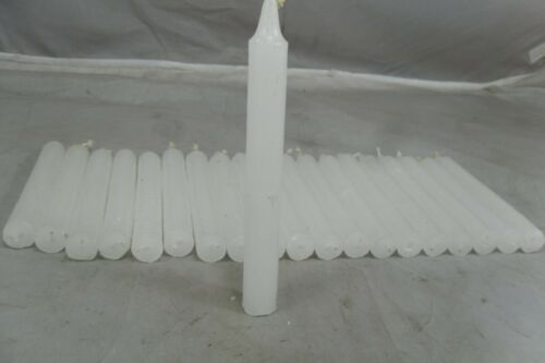 Set of 20 6 Inch Tall Unscented White Taper Candles ¾ Inch Dia 5 Hours Burn T