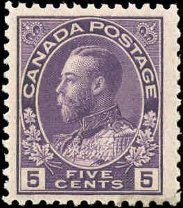 Mint-NH-Canada-5c-1922-F-Scott-112-King-George-V-Admiral-Issue-Stamp