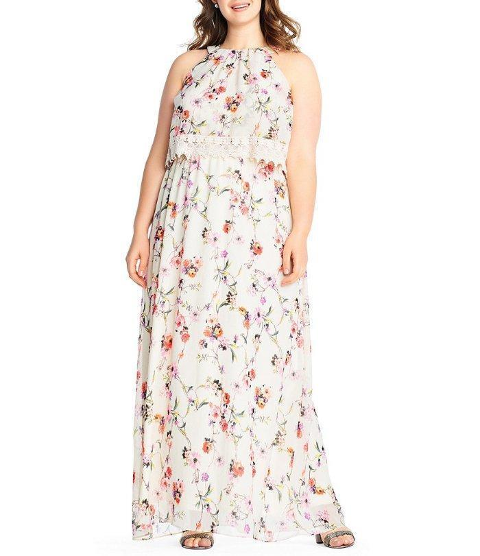 ADRIANNA PAPELL® Plus Size 22W Floral Print Popover Maxi Dress NWT  169