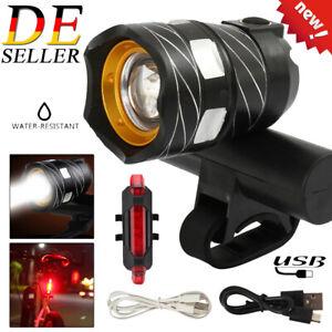 Fahrradlampe LED Fahrrad Licht USB Fahrradbeleuchtung Scheinwerfer Rücklicht Set