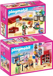 Details zu PLAYMOBIL® Dollhouse 2er Set 70206 70207 Familienküche + Gemütliches Wohnzimmer