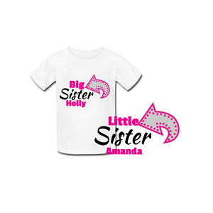 Matching t-shirts Personalised Big and Little Sister new baby shower gift