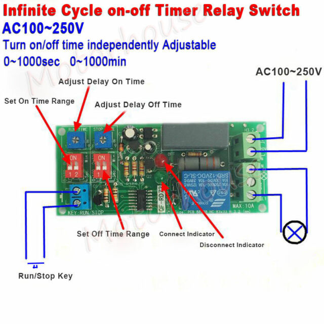 AC 110v 220v Infinite Cycle Delay Timing Timer Relay on off Switch ...