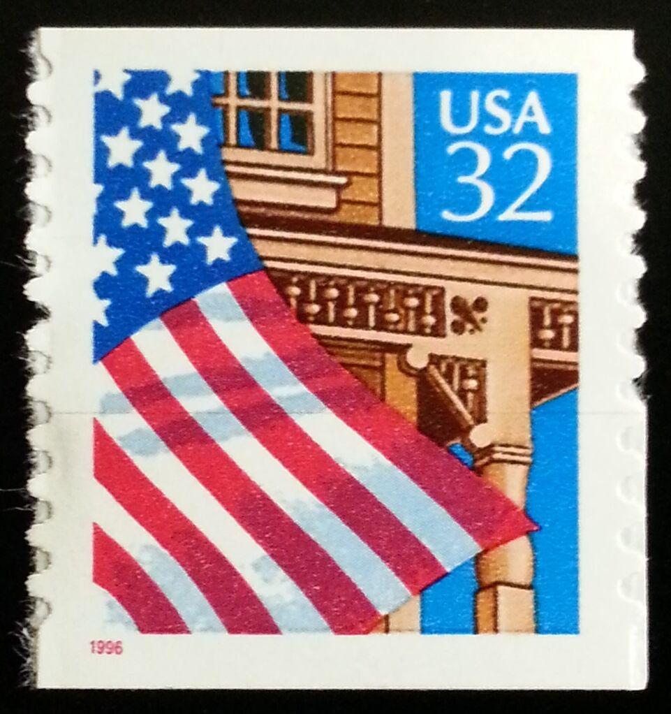 1996 32c Flag over Porch, SA Coil Scott 2915c Mint F/VF