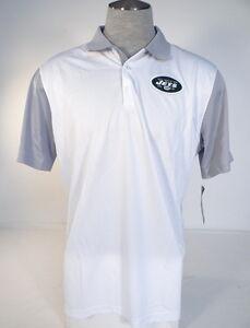 7551e006 Nike Dri Fit NFL On Field NY Jets White & Gray Short Sleeve Polo ...