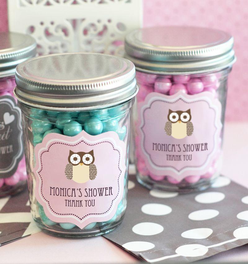 24 Personalized Baby Animal Theme Mini Mason Jars Baby Shower Candy Jar Favors