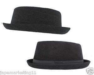 Men-039-s-Pork-Pie-Hat-Black-or-Grey