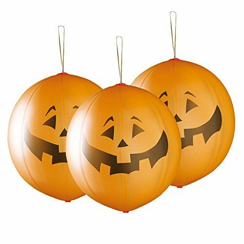 "3 pcs PREMIUM QUALITY Halloween Pumpkin Shaped LED Light Punch Balloon 18/""-45cm"