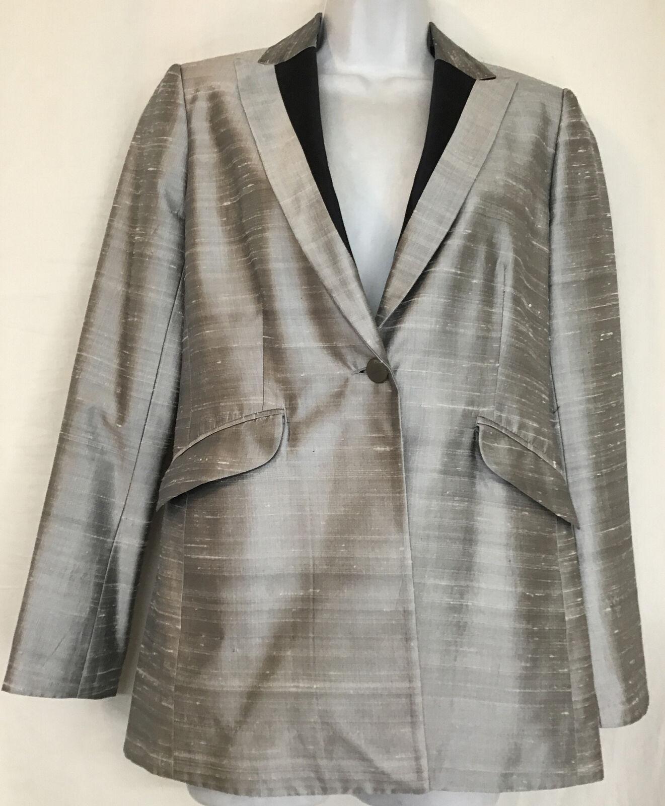 rag and bone  Suit Jacket silver gray silk peak s… - image 4