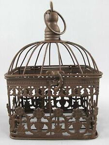 Antico Decorazione Gabbia per Uccelli Metallo Piante Fiori Rustikalbraun (K)