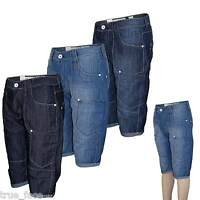 Mens New Crosshatch Cargo Combat Denim Short Casual Summer Beach Exercise Trunks