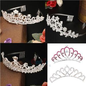 Wedding-Bridal-Princess-Crystal-Tiara-Hair-Crown-Headband-Bands-Comb-Veil-Silver