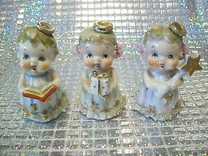 SUPER-RARE-VTG-Japan-Christmas-Angel-Girl-Hold-Gold-Star-Gift-Bible-Figurine-Set