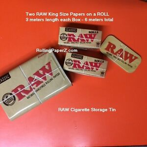 TWO-X-RAW-King-Size-ROLLS-3-meter-length-each-Rolling-Paper-Storage-Stash-TIN