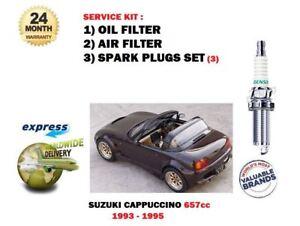 FOR SUZUKI CAPPUCCINO 0.7i 1993-1995 SERVICE KIT OIL AIR FILTER + SPARK PLUGS