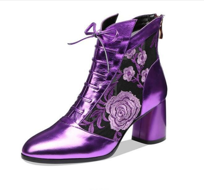 Femme Fashion Cuir Floral Maille Lacets Bottines à Talon Bottier Chaussures MCEG