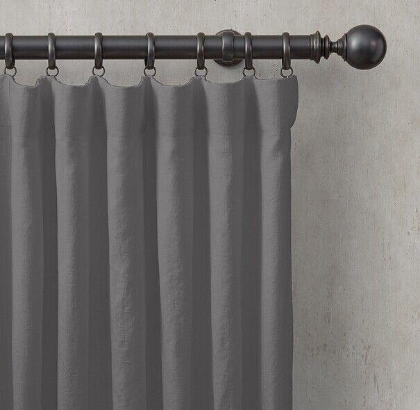 Nuevo Restoration Hardware lavado Lino Cortinas 120x50 gris Grafito Forrado
