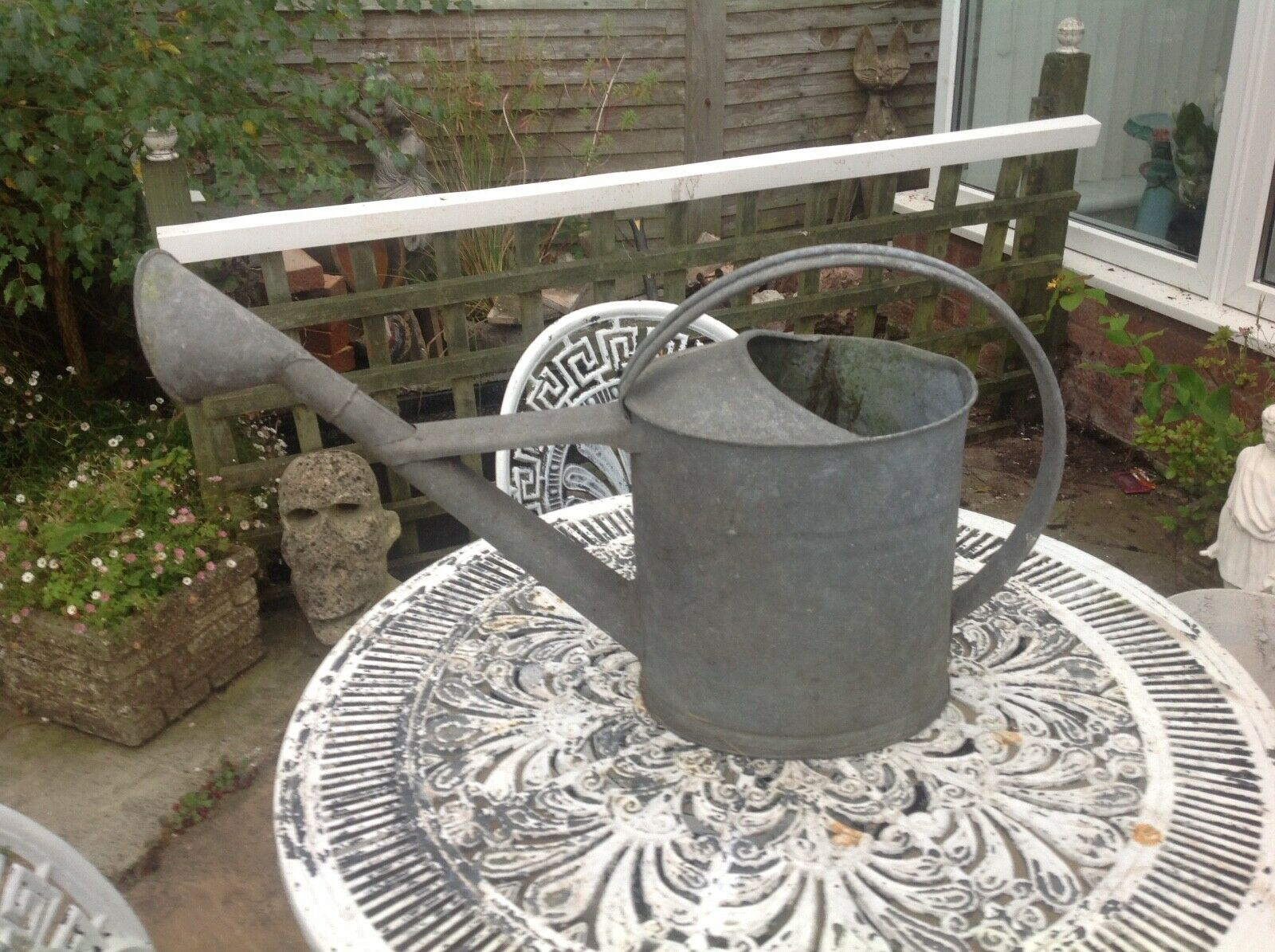 Large Vintage Galvanised Watering Can with rose 2.5 Gallons 15