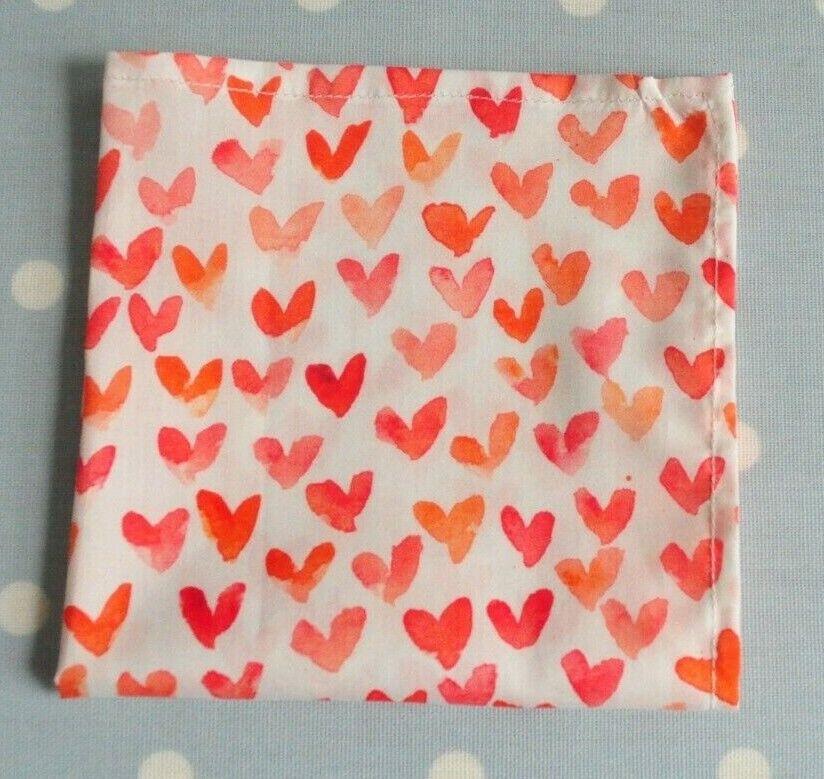 Tana lawn handkerchief hankie pocket square hearts red orange ivory