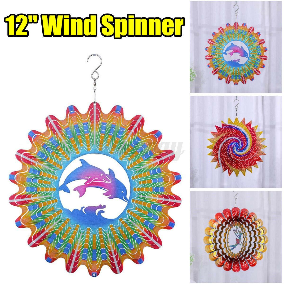 12'' 3D Fairy Garden Wind Spinner Sun Catcher Cyclone Yard Outdoor