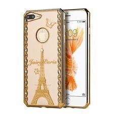 For Apple iPhone 7 Plus Gold Clear Fairy Paris Rubber Case Cover w/Diamond