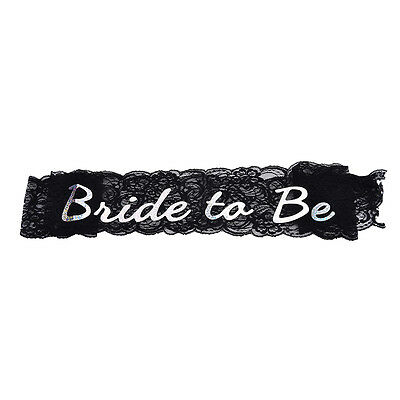 Hens Night Party Bachelorette Black Shower Lace Bride To Be Sash Wedding
