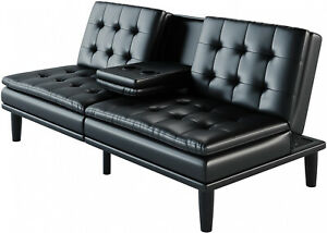 Details about Black Faux Leather Memory Foam Pillowtop Futon Convertible  Sofa Bed W/ Cupholder