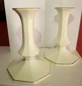 Mikasa-Candlesticks-Ivory-Bone-China-24-Karat-Gold-Set-for-Tapered-Candles-B2001