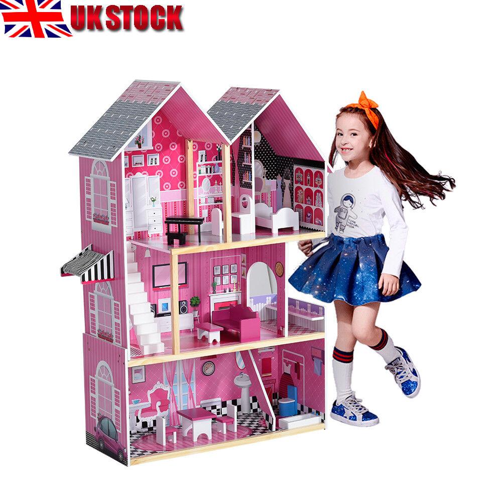 GRANDE casa di bambole in legno con mobili Scale Barbie Bambini Natale Regalo Regno Unito