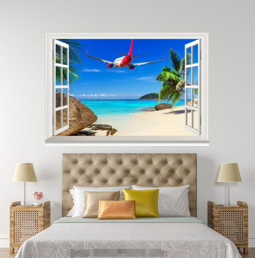 3D Aircraft Beach 79 Open Windows WallPaper Murals Wall Print Decal Deco AJ WALL