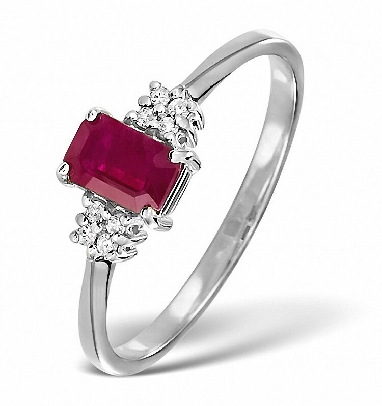 Solitaire Emerald Cut Ring Ruby and Diamond White gold Size F - Z Certificate