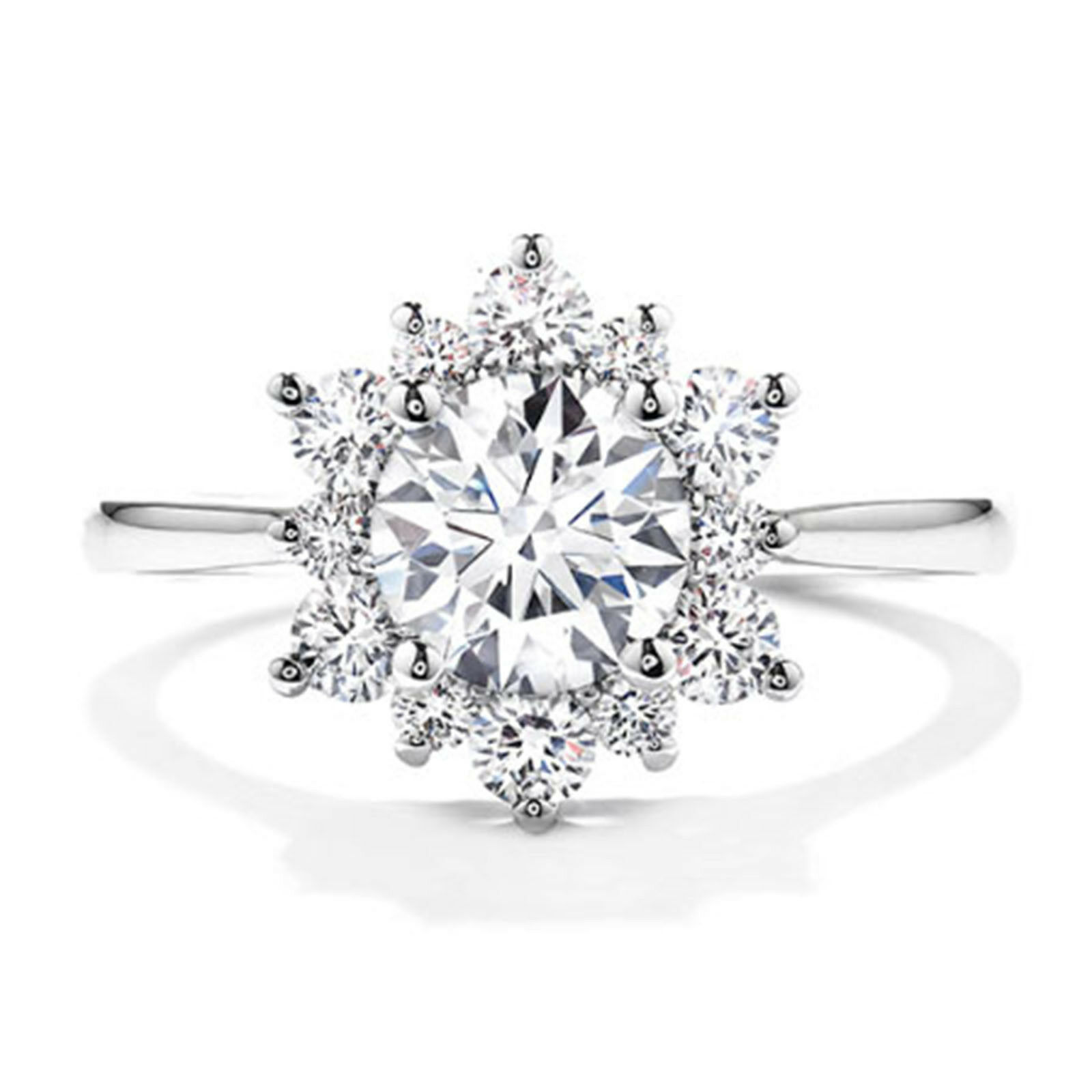 0.70 Ct Round Cut Real Diamond Engagement Rings 14K Solid White gold Size 6 7 8