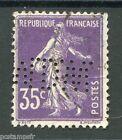 FRANCE 1907, timbre perforé MDW, 142, type SEMEUSE, oblitéré, PERFIN STAMP