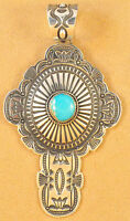 Navajo Sterling Silver Stamped Cross Pendant Royal Blue Turquoise Darrell Cadman