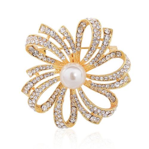 Wedding Bridal Rhinestone Crystal Pearl Flower Animal Bouquet Broach Brooch Pin